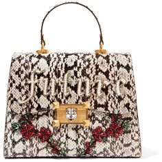 Gucci Osiride embellished elaphe tote (€2.745) ❤ liked on Polyvore featuring bags, handbags, tote bags, black, tote bag purse, chain-strap handbags, floral handbags, gucci tote and gucci handbags