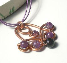 copper necklace amethyst onyx stone pendant handmade by VeraNasfa