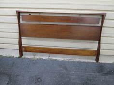 00001 Mid Century Modern Walnut  QUEEN  Size Headboard Bed #MidCenturyModern