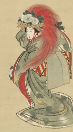 Lion Dancer.  Main detail of a hanging scroll; ink and color on silk, first half 19th century, Kyoto, Japan by artist Soryu. MFA