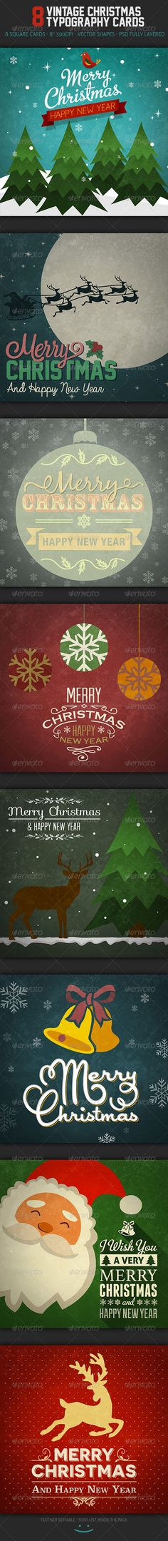 Vintage Christmas Typography Cards - Miscellaneous Backgrounds
