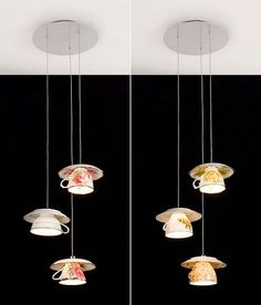 This teacup lighting is so fanciful. If you had the right sort of home—it would be great!
