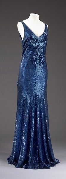 Chanel Sequin Dress - 1932 - by House of Chanel - Design by Gabrielle 'Coco' Chanel - Machine- and hand-sewn blue tulle and sequins | vintage 1930s dress | 30s evening gown