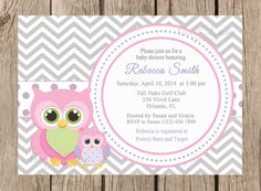 Owls Baby Shower Printable Invitation - Pink, Purple and Grey, White and Grey Chevron Blue and Yellow, Boy or Girl Baby Shower Invite- 061