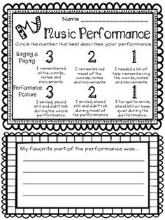 MUSIC PERFORMANCE SELF-EVALUATION, K-3 - TeachersPayTeachers.com