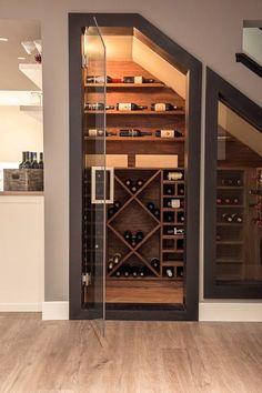 Basement wine cellar ideas wine cellar contemporary with wine room wood flooring glass door Under Stairs Wine Cellar, Wine Cellar Basement, Stair Storage, Wine Storage, Storage Ideas, Creative Storage, Closet Storage, Hidden Storage, Town Country Haus