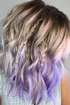 Blonde dyed tips pink hair short hair wavy hair do it yourself 30 cool ideas of purple ombre hair solutioingenieria Image collections