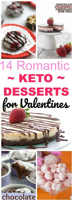 14 Easy & Gorgeous Keto Low Carb desserts for special occasions such as Valentines Day, anniversaries, special dates, or a birthday. Ketogenic cheesecake, doughnuts, pie, mousse, fat bombs, and more! #ketogenic #lowcarb #valentines
