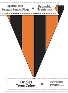 Orioles Colors Pennant Banner Flag from PrintableTreats.com