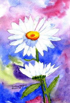 Now Available as a giclee print in many sizes!  Water Color Painting Daisy Bud Print By by CynthiaArtGallery, $24.95