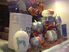 Fall Window Display we put together by painting pumpkins with dogs.