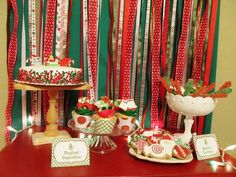 Red and Green Christmas Party Backdrop #christmas #party