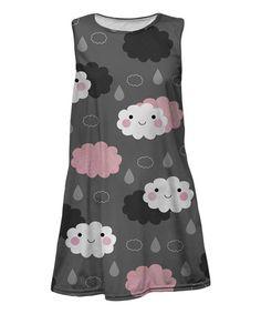 Loving this Pink & Gray Rain Cloud Sleeveless Dress - Toddler & Girls on #zulily! #zulilyfinds