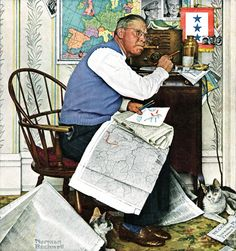 """Armchair General"" by Norman Rockwell, April 29,1944. This Saturday Evening Post…"