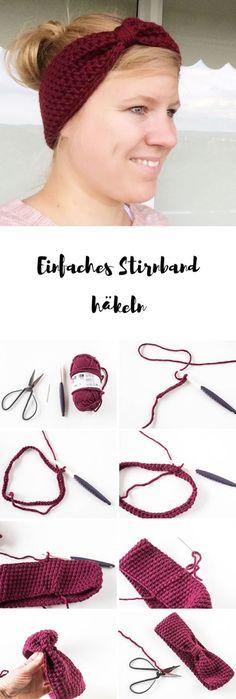 Crochet Headband crochet simple headband with instructions - a perfect DIY gift Crochet Simple, Crochet Diy, Crochet Hats, Blanket Crochet, Tunisian Crochet, Bandeau Crochet, Crochet Headband Pattern, Motifs Beanie, Knitting Patterns
