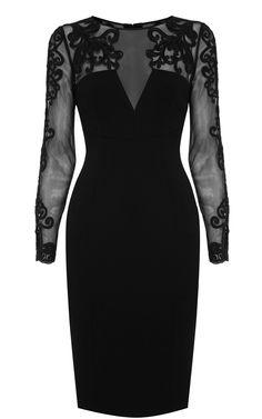 Karen Millen Lace sleeve pencil dress black   $107.52  Save: 70% off