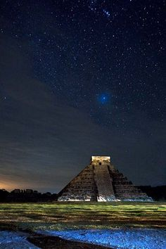 Chichen Itza at Night - Mexico. Photo by Alex Korelkovas.