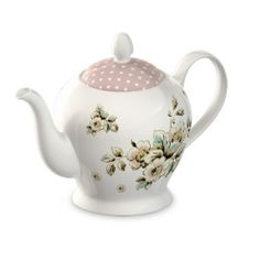 Tea anyone? Pretty 6 cup porcelain tea pot from the Katie Alice Shabby Chic collection