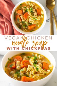 Vegan Chicken Noodle Soup {with Chickpeas!} Vegan Chicken Noodle Soup -- This easy soup recipe has all the heartiness of classic chicken noodle soup - but plant-based! Featuring chickpeas and veggies, this soup recipe is delicious and fi Vegetarian Chicken Noodle Soup, Veggie Noodle Soup, Veggie Soup Recipes, Easy Soup Recipes, Vegan Dinner Recipes, Whole Food Recipes, Vegetarian Recipes, Healthy Recipes, Chicken Recipes
