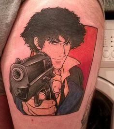 Fresh Cowboy bebop Spike by Maz, Scotland Ink : tattoos Cowboy Bebop Tattoo, Cowboy Tattoos, Cowboy Bebop Anime, Dope Tattoos, Anime Tattoos, Leg Tattoos, Tatoos, Comic Tattoo, Tattoo You