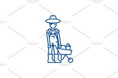 Wheelbarrow, Tool Design, Outline, Symbols, Illustration, Icons, Illustrations, Glyphs, Character Illustration