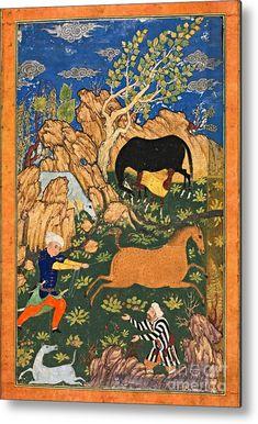 Equestrian Scene From Shanama Iran Or Afghanistan Rustams Raksh Century - Elwira Blount Horse Art, Horse Horse, Middle Eastern Decor, Persian Decor, Equine Art, 16th Century, Islamic Art, Afghanistan, Great Artists