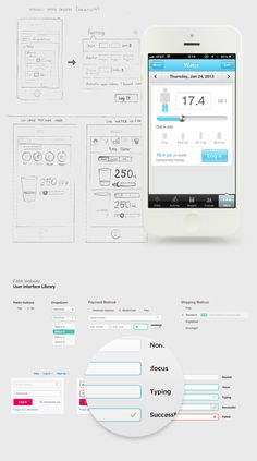 Fitbit project by Kerem Suer on Inspirationde Wireframe Design, App Ui Design, Mobile App Design, Mobile Ui, Mobile Wireframe, Gui Interface, User Interface Design, Iphone Ui, Android