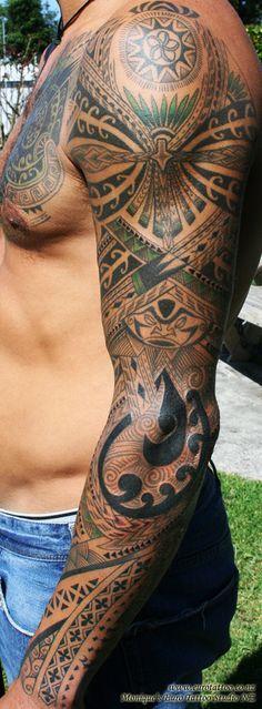 Pacific Island sleeve tattoo. Get your tattoo supplies here... http://activelifeessentials.com/body-canvas/ #bodyart #tattoos