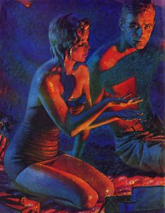 vintage 1956 romance illustration by the beach at full moon 10 inches by 13 inches original excellent condition perfect for framing please note my scanner cut off inch around all edges but original document is complete Frederic Remington, History Of Illustration, Illustration Art, Retro Illustrations, Magazine Illustration, Pin Up, Vintage Romance, Vintage Artwork, Vintage Images