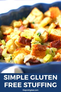 It doesn't get any easier than this gluten free stuffing recipe! You don't need to be an experienced cook to make this tasty stuffing for Thanksgiving. #glutenfree #stuffing #thanksgiving #recipes