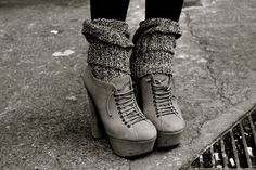 Grey platform lace up booties + leggings & knit leg warmers