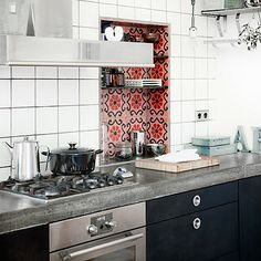 Lovely tile niche. Found via Roseland Greene - Handmade tiles can be colour coordinated and customized re. shape, texture, pattern, etc. by ceramic design studios
