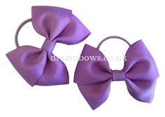 Lilac grosgrain ribbon hair bows on thin bobbles - www.dreambows.co.uk #lilacbows #toddlerhairbobbles #thinbobbles #hairbowsuk #girlslilacbows #hairbobbles