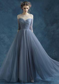 Robe de Mariée Pas Cher-Perlage épaules Encolure Transparente Mousseline Bleu…