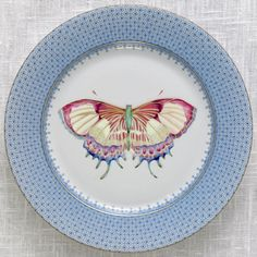 Our Cornflower Lace Butterfly Dessert Plate. Fresh for spring!