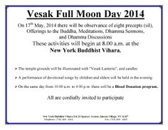 Celebration of Vesak at New York Buddhist Vihara on Saturday May 17 from 8 AM onward