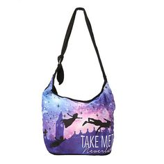 Disney Peter Pan Take Me To Neverland Hobo Bag Hot Topic ($15) ❤ liked on Polyvore featuring bags, handbags, shoulder bags, white shoulder bag, hobo shoulder bag, white hobo purse, white purse and disney