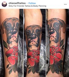 Trendy idea for a fans of bright color tattoos. Boxer Dog Tattoo, Dog Tattoos, Boxer Dogs, Boxers, Handmade Dog Collars, Dog Gifts, Your Dog, At Least, Stylish