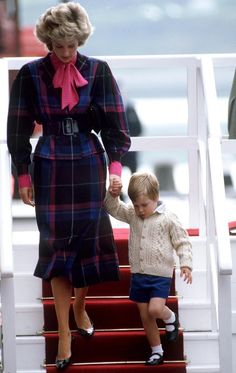 Princess Diana and young Prince William leaving the Royal Yacht in Aberdeen, UK