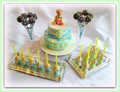 """""""Teddy bear"""" Christening cake and cake pops"""