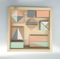 Pastel wooden blocks, wooden toys, building blocks by Happy Little Folks