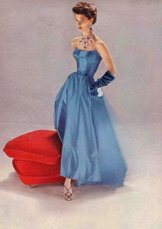 1952 blue satin gown