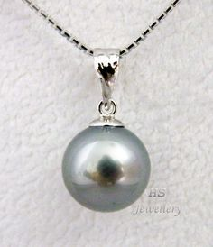 HS Black #Tahitian South Sea Cultured #Pearl 10.08mm 18KWG #Pendant Top Grade #Jewelry #Bridal #Christmas #Birthday