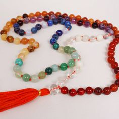 Rainbow Mala Necklace - Handknotted Semiprecious Stone Mala Prayers Beads