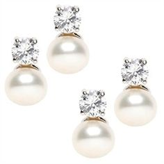 #Bridesmaid Gift Set: 2 Pairs Sofie's Simply Elegant CZ & Pearl Earrings $49.99