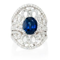 Diamond and Blue Sapphire 18k White Gold Ring