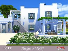 The perfect house for a new family. On the top floor, master bedroom and a toddler bedroom with a bathroom. There is acess to a big veranda. Found in TSR Category 'Sims 4 Residential Lots' Family House Plans, Small House Plans, Lotes The Sims 4, Sims 3, Greece House, Sims 4 House Building, Sims 4 House Design, Casas The Sims 4, Cottage Exterior