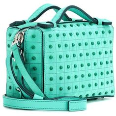 Tod's Micro Suede Shoulder Bag ($1,165) ❤ liked on Polyvore featuring bags, handbags, shoulder bags, suede leather handbags, tods purses, green shoulder bag, suede handbags and shoulder bag handbag