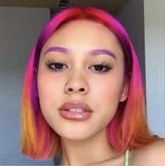 Pink And Orange Hair, Hair Color Pink, Hair Dye Colors, Perfecting Skin Tint, Sunset Hair, Permanent Hair Dye, Dye My Hair, Rainbow Hair, Grunge Hair