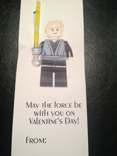 Our spin on the 'light saber valentine' ... Lego Star Wars of course. Ry was ecstatic!  He asked me why I couldn't print his name in them with the printer lol.